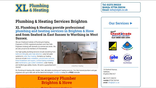 Website design for XL Plumbing in Brighton, Sussex